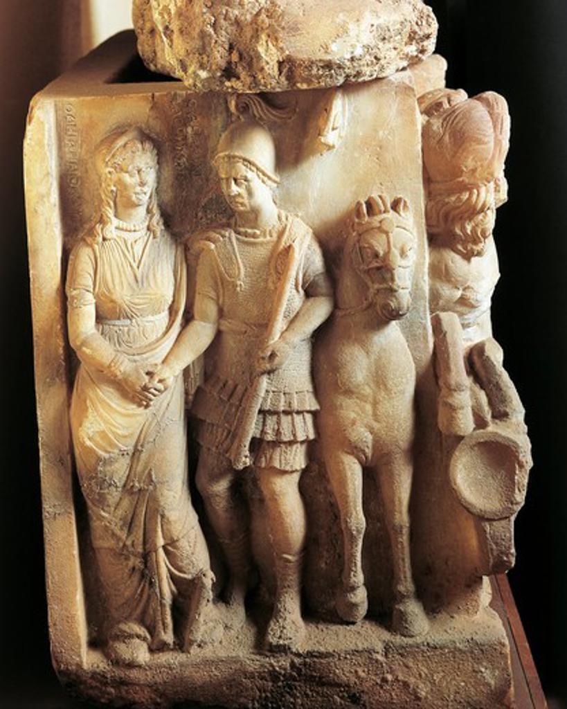 Alabaster urn, detail, warrior saying good bye to his wife : Stock Photo