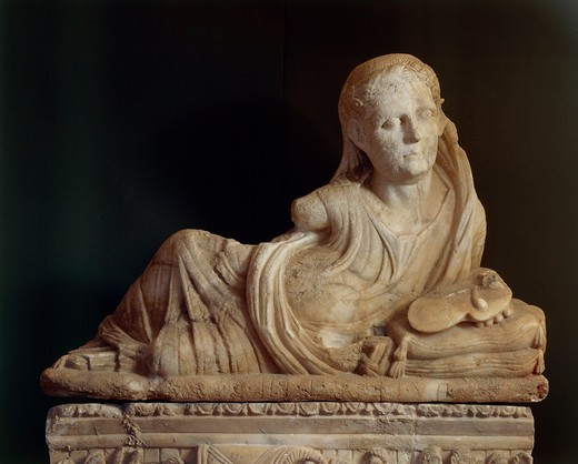 Stock Photo: 1788-14385 Alabaster urn featuring Haruspex priest holding up sheep's liver from Volterra, Pisa Province, Italy
