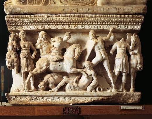 Alabaster funerary urn with relief of the fight between the Gauls and the Romans : Stock Photo