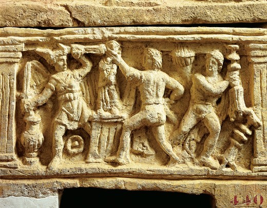 Stock Photo: 1788-14390 Etruscan civilization, tufa urn with scenes of Gauls plundering temples