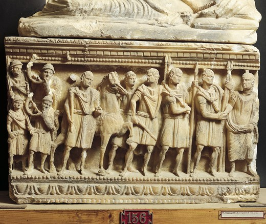 Stock Photo: 1788-14412 Etruscan civilization, alabaster urn featuring scene of final farewell to magistrate, from Volterra, Italy