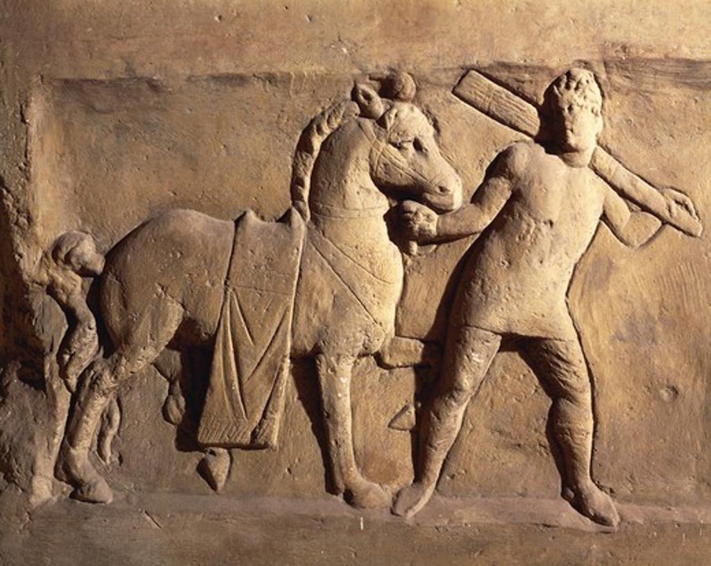Roman civilization, Oclazio stela, relief portraying soldier leading horse : Stock Photo