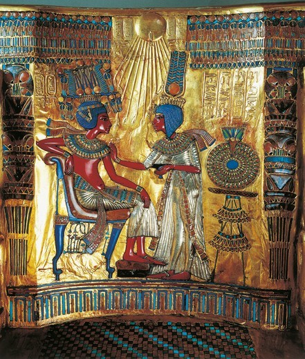 Stock Photo: 1788-14435 Egyptian civilization, Tutankhamen's treasures, back of throne inlaid with cornelian, turquoise and lapis lazuli, scene with queen offering king drink, from Valley of Kings, Tutankhamon's Tomb