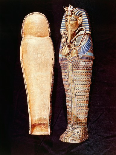 Stock Photo: 1788-14439 Tutankhamen's treasure, Second Sarcophagus of worught and engraved gold, which contains guts of Pharaoh - From the Valley of the Kings, Tutankhamen's tomb (1347-1338 b.c.)