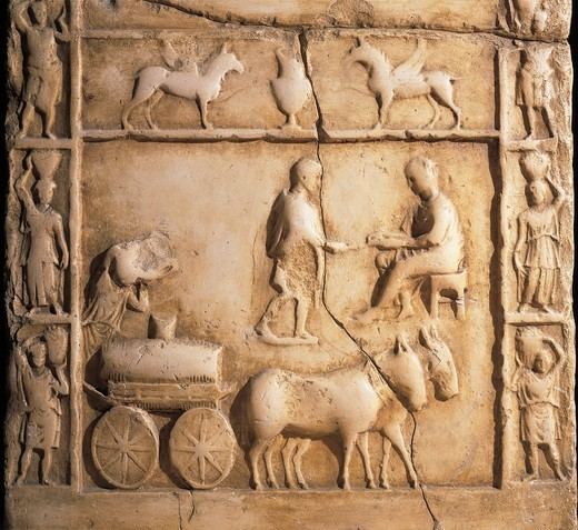 Stock Photo: 1788-14457 Veiquasio Optato's stele, Detail from relief with farm cart, mules and farmer who is pouring wine into cask on cart