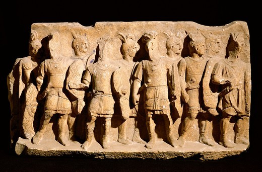 Relief portraying legionnaire in typical armor of order, from Cuma, Campania Region, Italy : Stock Photo