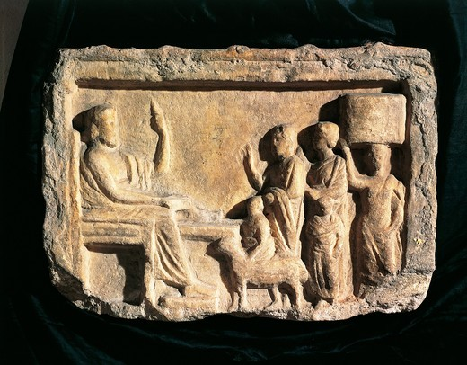 Stock Photo: 1788-14473 Relief portraying faithful opposite oracle