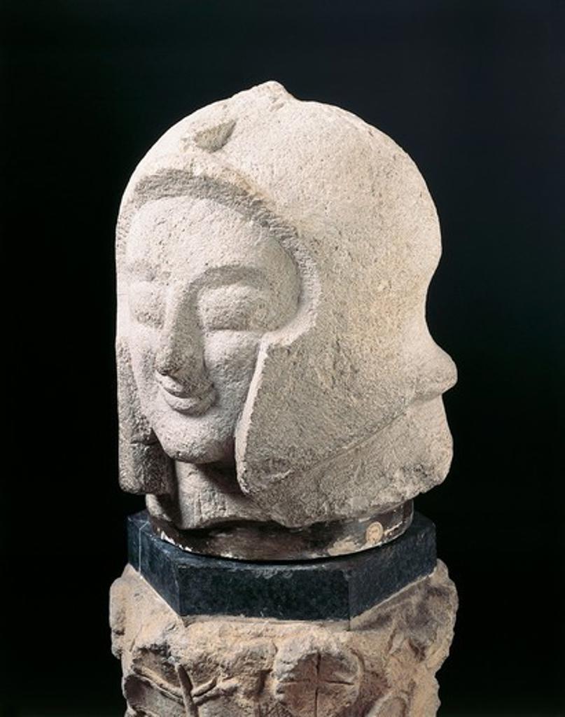 Stock Photo: 1788-14489 Colossal warrior head found in tomb in Orvieto, Terni
