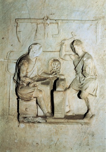 Stock Photo: 1788-14524 Knife sellers altar, detail of relief