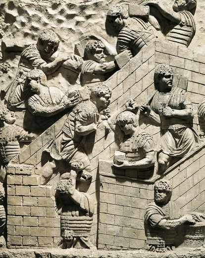 Model of Trajan's Column (Rome), detail, Roman legionnaires setting up fortified camp : Stock Photo