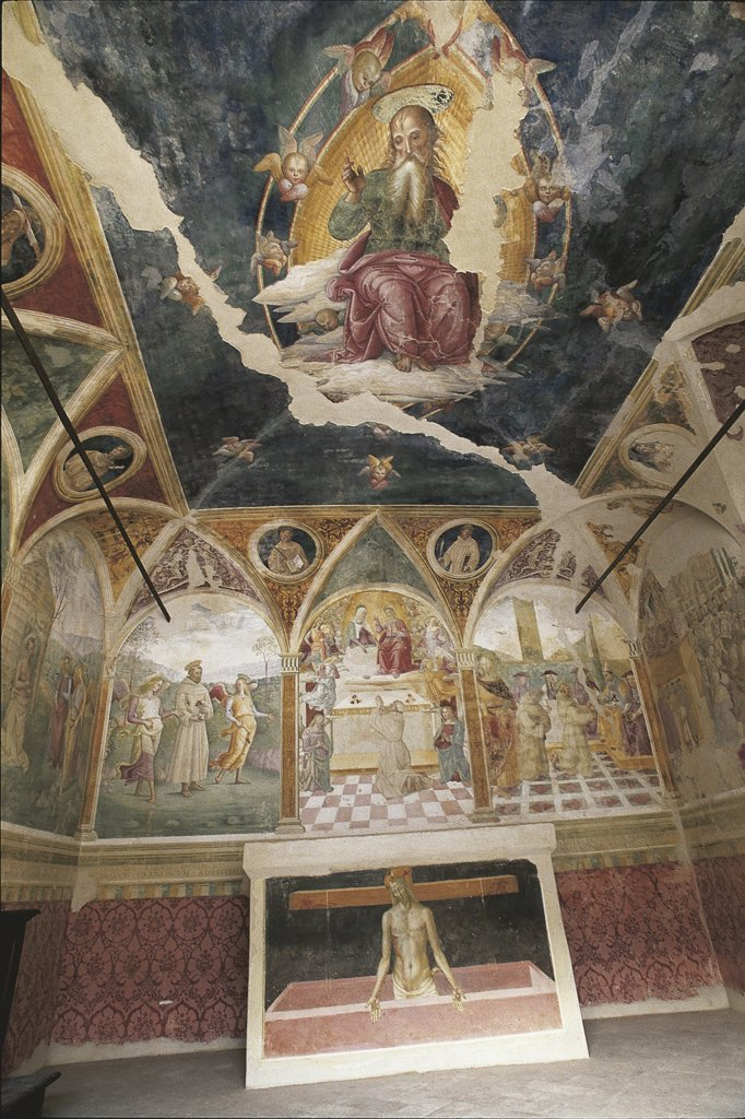 Italy - Umbria Region - Montefalco - Monastery of St. Claire - Oratory - B. Gozzoli's frescoes : Stock Photo