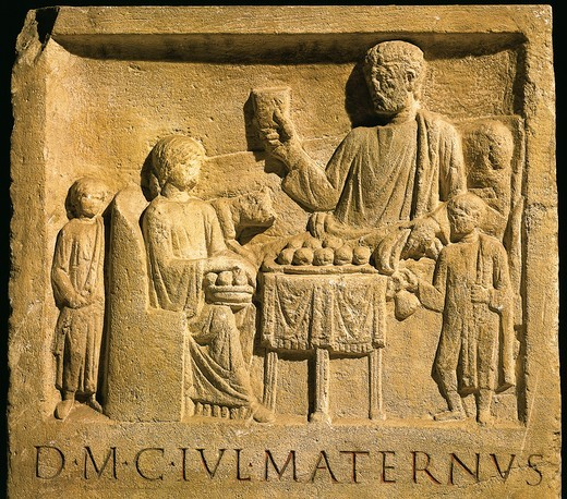 Roman civilization, relief portraying feast, from Cologne, Germany : Stock Photo