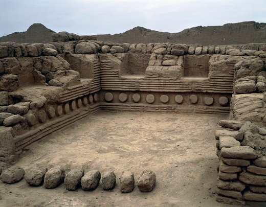 Stock Photo: 1788-14817 Peru, Pre-Inca civilization, Chimu civilization, ceremonial hall, Chan Chan archaeological site