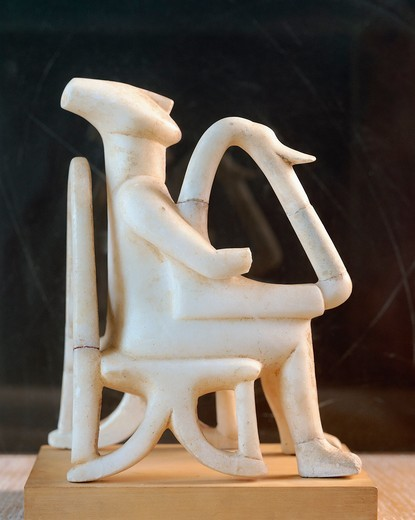 Cycladic civilization. Marble statue of lyre player. From Keros Island (Greece) : Stock Photo