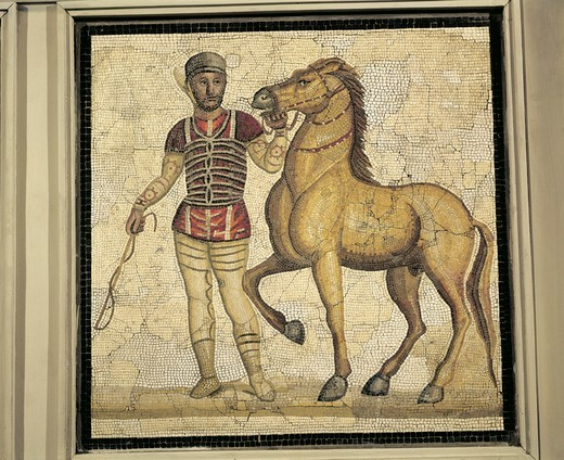 Roman civilization, Polychrome mosaic portraying charioteer in one of four Circus teams : Stock Photo