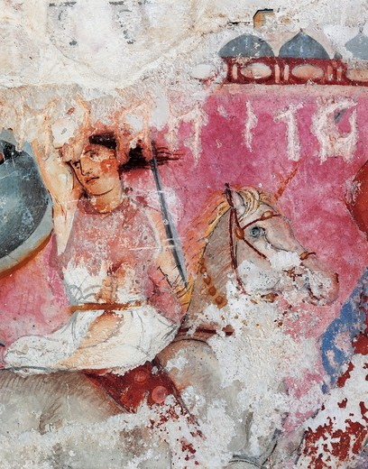 Etruscan civilization, Amazon Sarcophagus - detail of painted decoration. From Tarquinia : Stock Photo