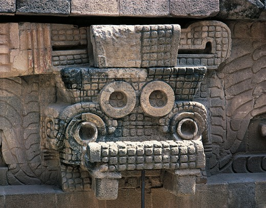Stock Photo: 1788-14883 Mexico, Mexico City, Teotihuacan archeological site, Quetzalcoatl (Snake God) Temple, Details of sculpture depicting Tlaloc (Aztec rain god)