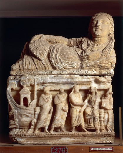 Stock Photo: 1788-15026 Etruscan civilization, Alabaster urn with funeral scene with details of journey by sea to underworld