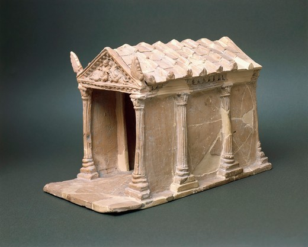 Etruscan civilization, Model of temple in terracotta, From Vulci, Montalto di Castro, Viterbo Province : Stock Photo