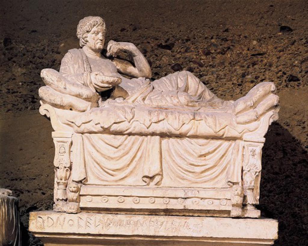 Italy, Umbria Region, Near Perugia, Hypogeum of Volumni, Etruscan tomb with urn of Arunte Volumnio's family : Stock Photo