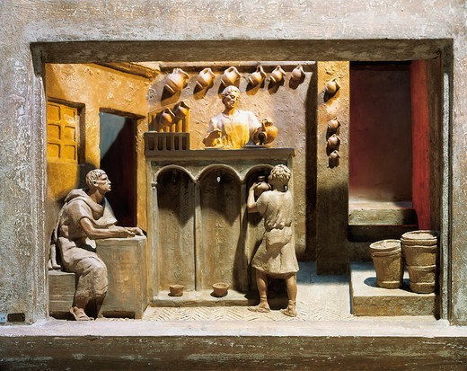 Stock Photo: 1788-15087 Roman civilization, model reconstruction of Roman wine shop