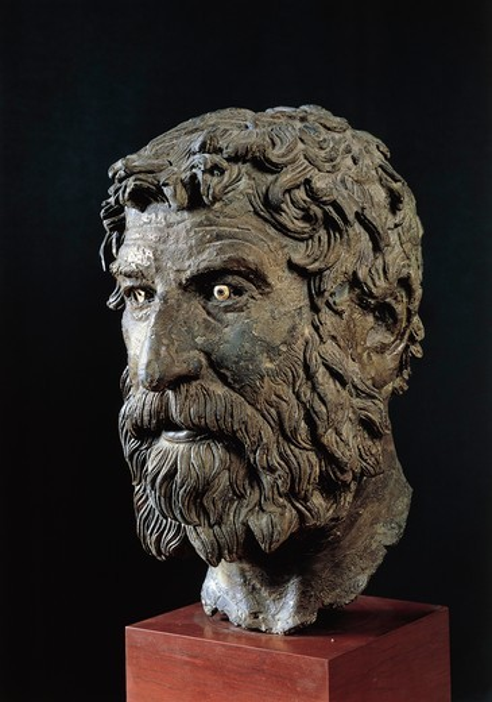 Greek civilization, bronze head of philosopher, from Antikythera, Greece : Stock Photo