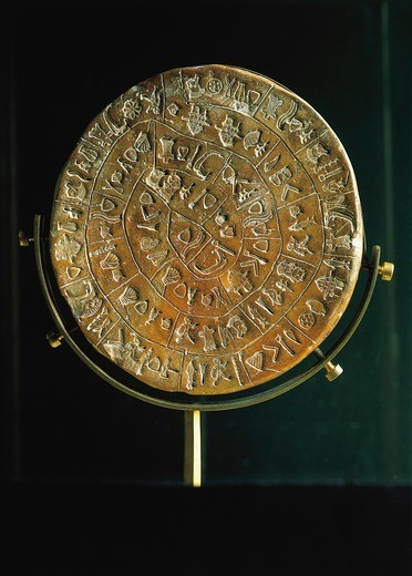 Stock Photo: 1788-15138 Crete, Phaistos clay disc covered with hieroglyphic characters arranged in spiral, side A