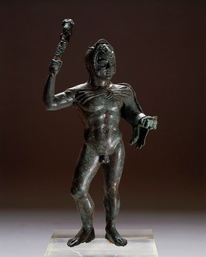 Italy, Bologna, Monte Acuto Ragazza, Bronze statue depicting Hercules in attack, from Villa Cassarini : Stock Photo
