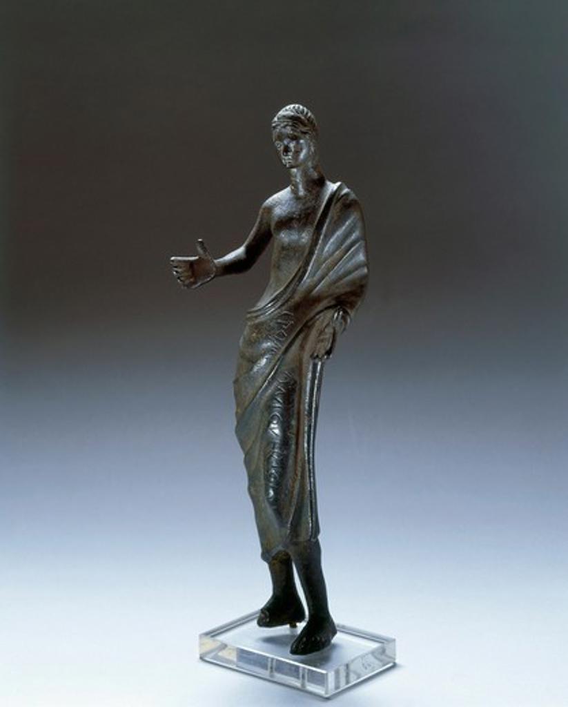 Italy, Orvieto, Bronze statue depicting praying figure : Stock Photo