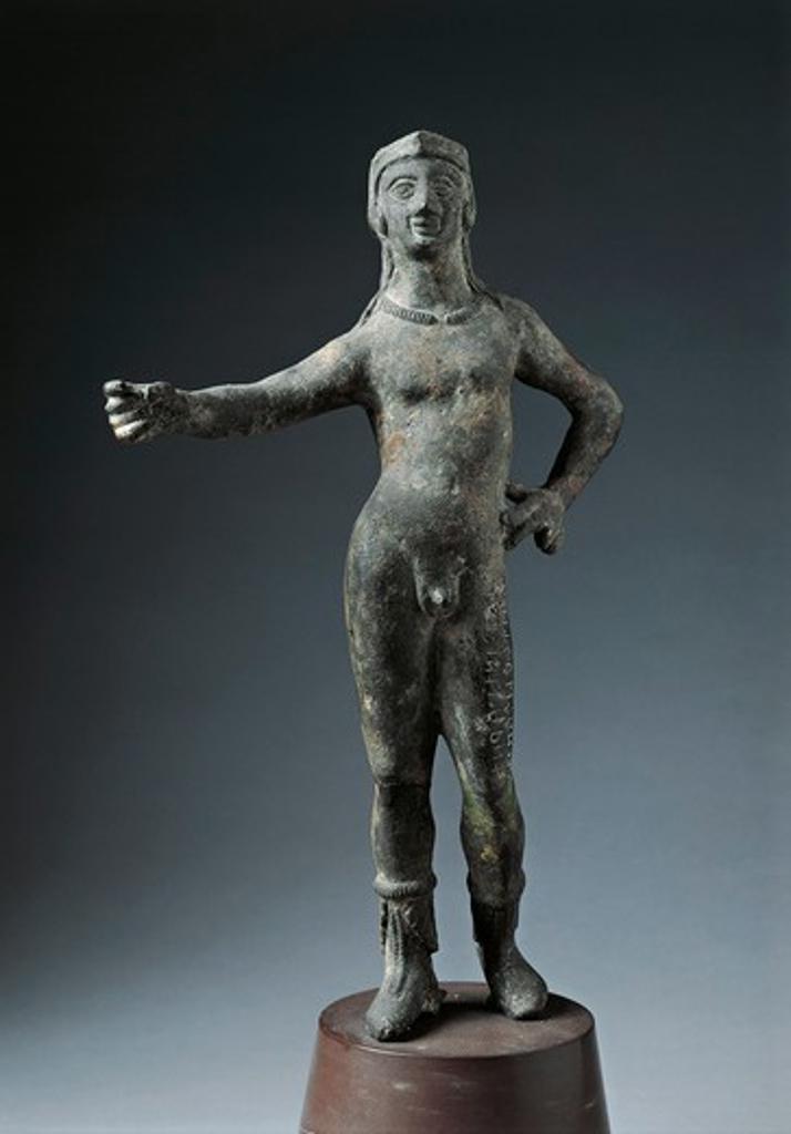 Italy, Arezzo Province, Cortona, Bronze statue of God Culsans : Stock Photo