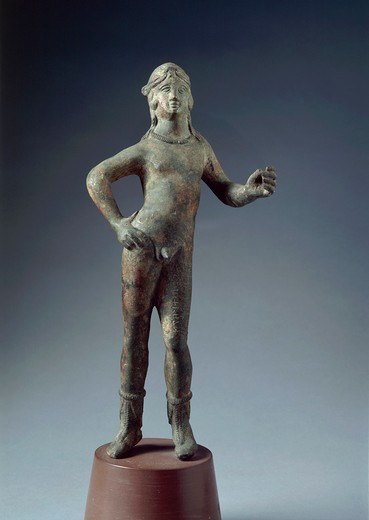 Stock Photo: 1788-15185 Italy, Arezzo Province, Cortona, Boario, Bronze statue depicting God Selvans
