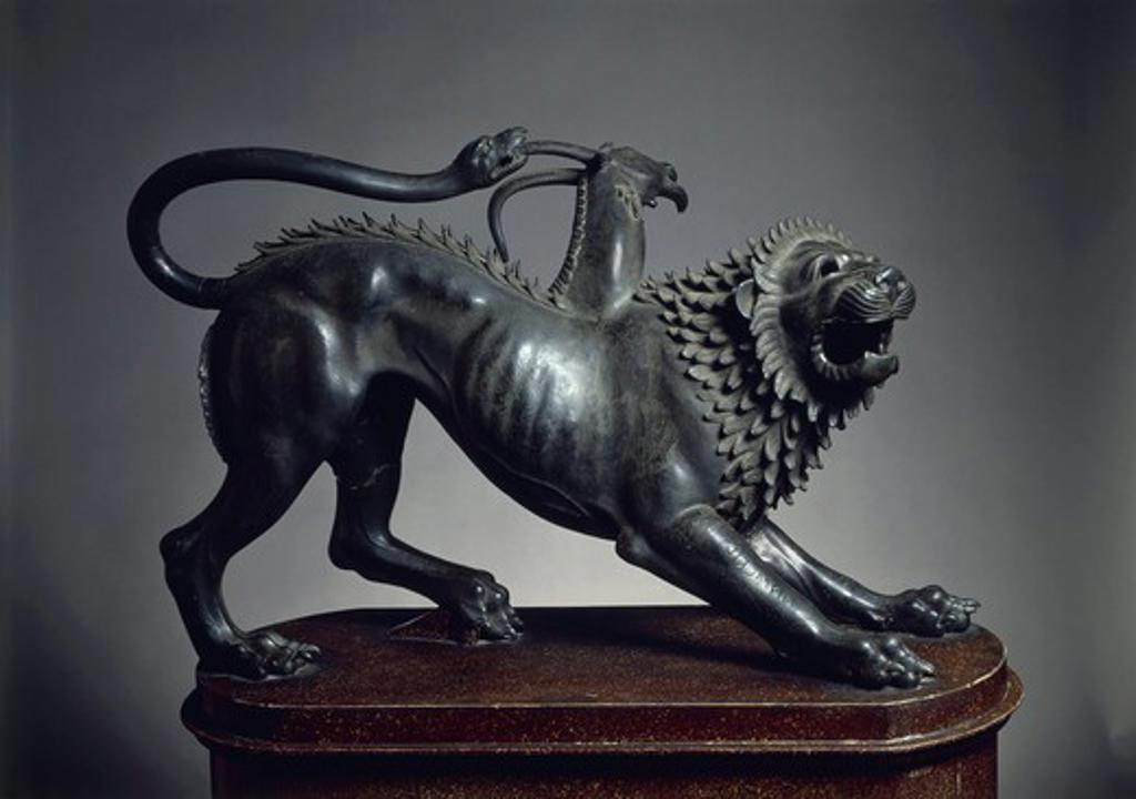 Chimera of Arezzo, bronze sculpture, height 65 cm, 400-350 b.c. : Stock Photo