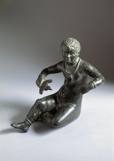 Bronze statue of seated child, 200-150 b.c., from Lake Trasimeno : Stock Photo