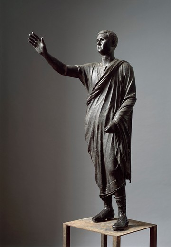 The Arringatore' (orator), bronze statue, 80 b.c., from Pila (Perugia) : Stock Photo