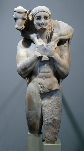 Marble statue known as 'The Moscophoros' or Calfbearer : Stock Photo