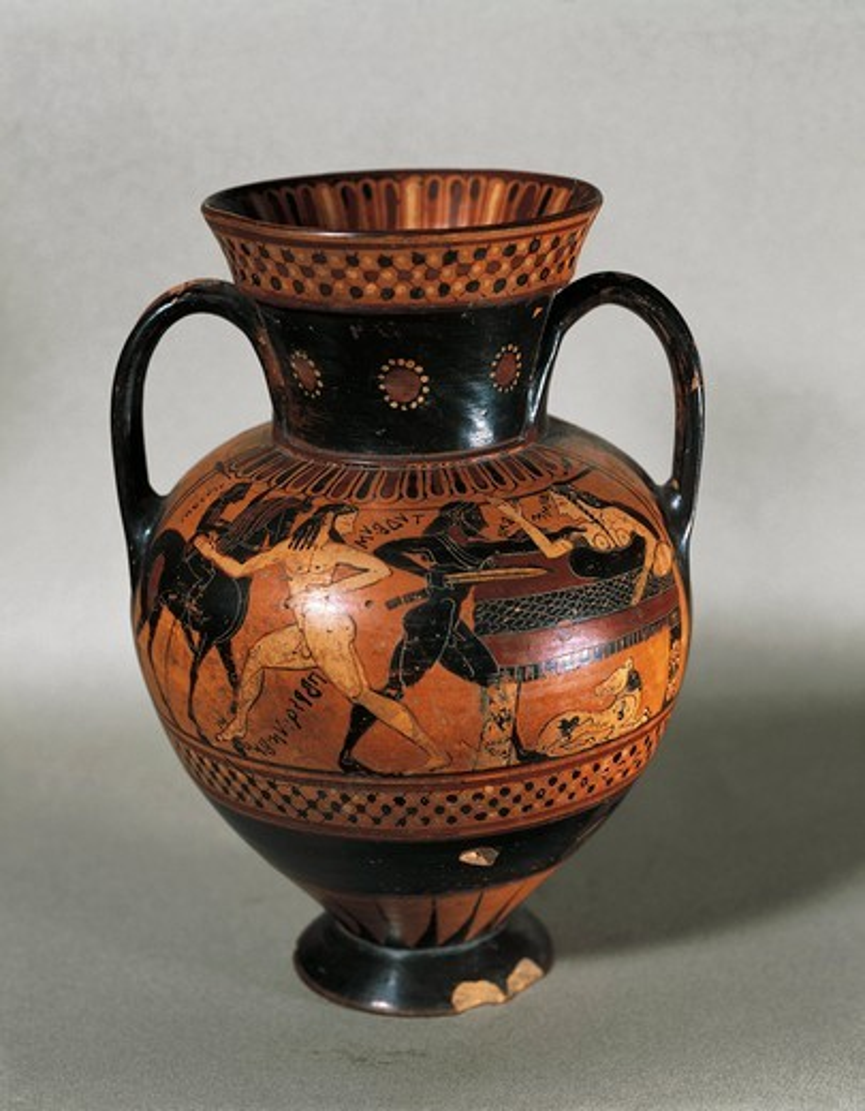 Italy, Rome, Cerveteri, Black-figure pottery amphora with mythological scenes depicting Tideo killing Ismene : Stock Photo