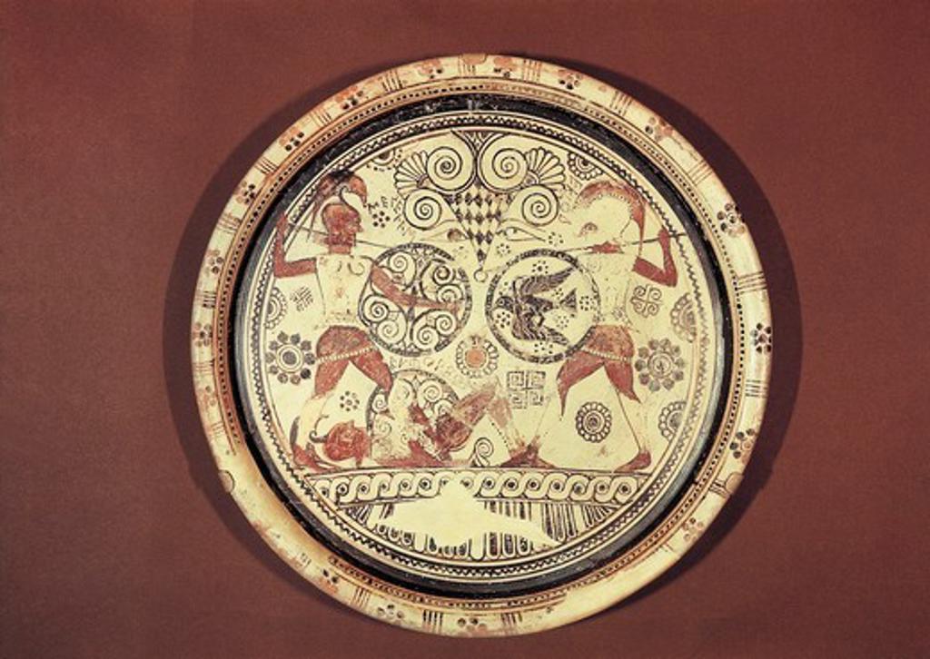 Stock Photo: 1788-15290 Plate of Euphorbia, rhodium ceramic depicting duel between Menelaus and Hector
