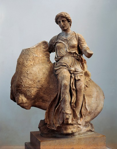 Stock Photo: 1788-15325 Statue of Aura on horseback from Temple of Asclepius in Epidaurus
