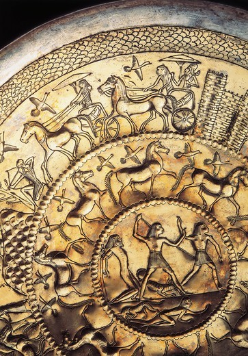 Stock Photo: 1788-15368 Patera (shallow circular decorative element) from Cypriot shop from Bernardini Tomb in Palestrina, detail