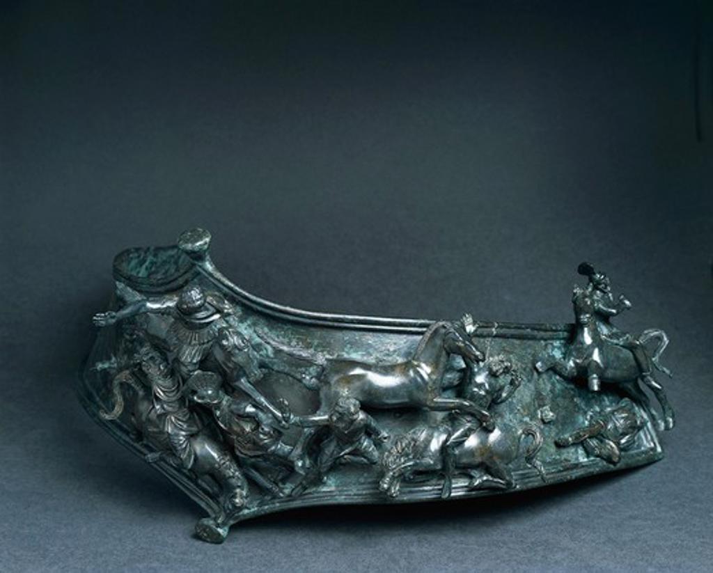 Baldric (belt) decorated in bronze depicting battle between Romans and barbarians : Stock Photo