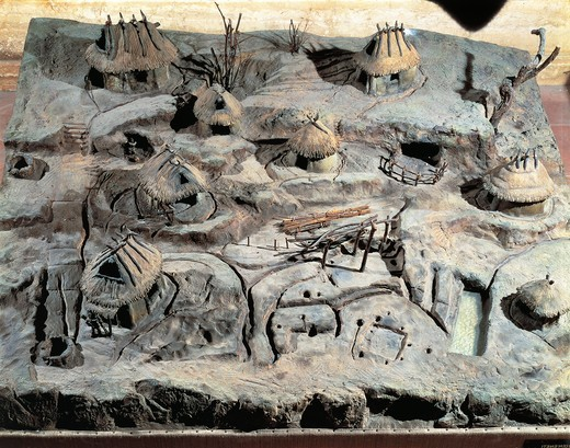 Plastic model of village huts from Palatine Hill : Stock Photo