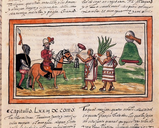 Manuscript, 'History of Indians' (1579) by Diego Duran (1537-1588) Cortes being welcomed by Indians to beating of drums, miniature : Stock Photo