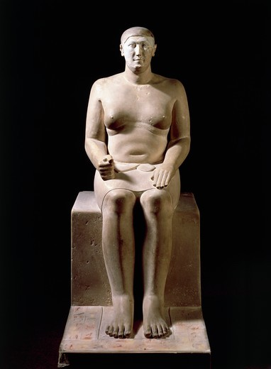 Statue of architect Hemiunu, credited with construction of pyramid of Cheops : Stock Photo