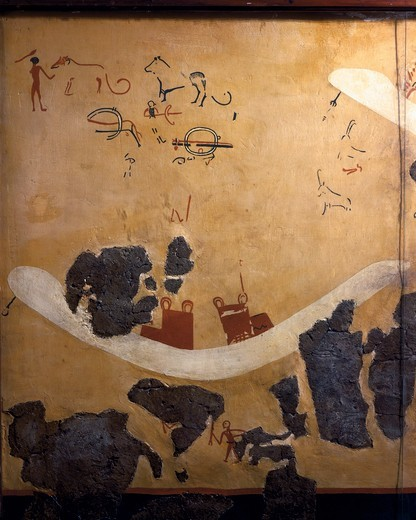 Stock Photo: 1788-15457 Mural painting of burial chamber at Hierakonpolis, reconstruction