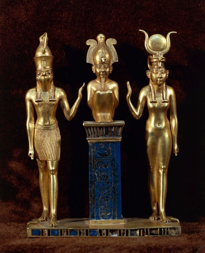Stock Photo: 1788-15469 Egyptian civilization. Goldsmith art. King Osorkon II pendant in gold and lapis lazuli depicting god Osiris and his son Horus and his wife Isis