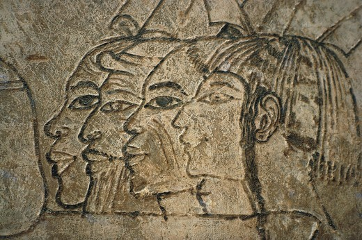 Egypt, West Thebes, Sheikh Adn el-Qurna. Tomb of Ramos. Wall drawings : Stock Photo