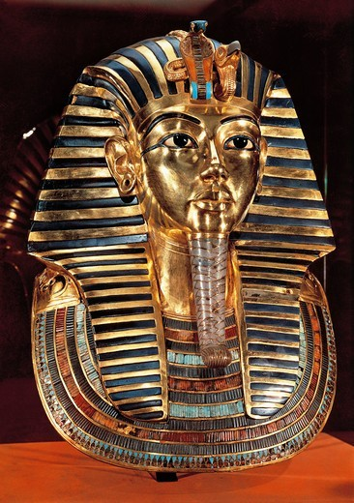Egyptian civilization. Gold funerary mask with lapis lazuli and turquoise from Pharaoh Tutankhamen : Stock Photo