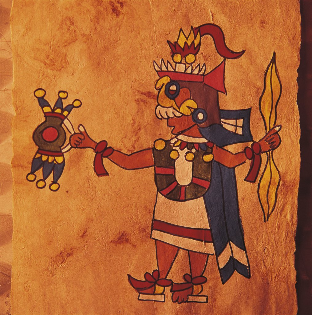 Stock Photo: 1788-1552 Mexico - Painting on parchment  - Tlaloc (Rain God)