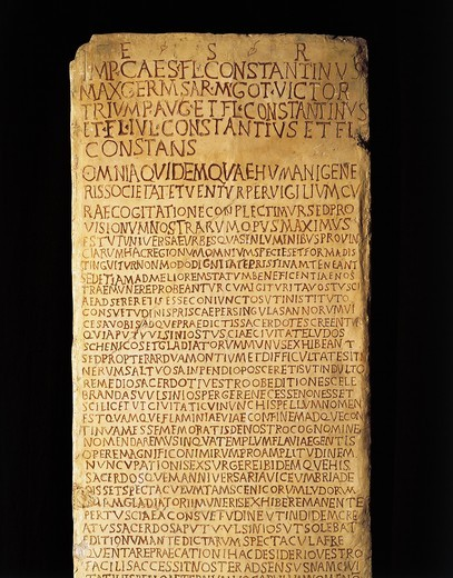 Stock Photo: 1788-15526 Inscription of rescript (Roman law) from Constantine and his three sons about regulations of Tuscany and Umbria, 333 A.D, from Spello, Perugia