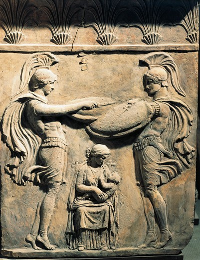 Stock Photo: 1788-15555 Relief depicting Jupiter as child with wet nurse and two warriors, from Italy